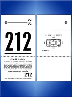 3-Part Valet Tickets With Car Diagram Back 1,000 #VT3-CB