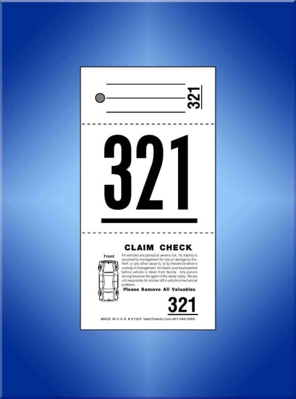 #VT3-CF 3-Part Valet Tickets With Car Diagram On Front 1,000