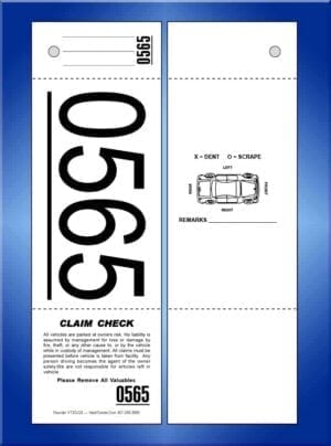 3 Part Giant Number Valet Tickets, W/Car 1,000 #VT3G-CB