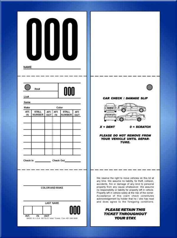 #VT3LIO (Large 3 Part In and Out Valet Ticket 1,000)