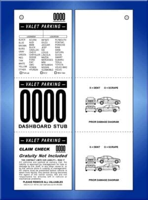 VT3VL-CB2  3 Part Vehicle List Valet Ticket 2 Cars 1,000