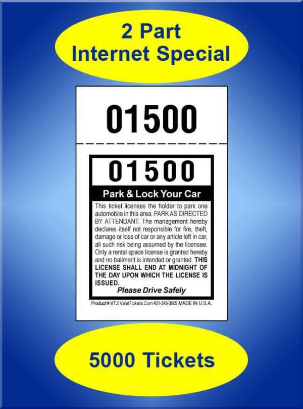 2-Part Self Parking Special 5,000 Valet Tickets #VT2-IS