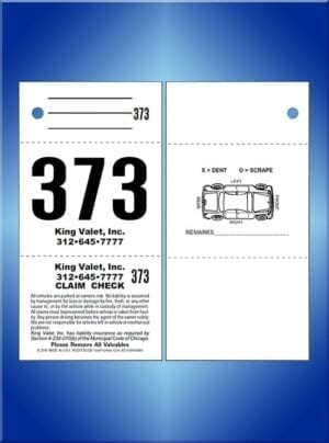 #CCVT3C-CB      3 Part Chicago Code Valet Tickets With Car Back