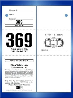 #CCVT3PC-CB  3 Pt Prestige Chicago Code Valet Ticket W/Car Back
