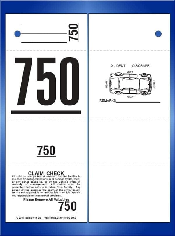 #VT4-CB 4 Part Ticket With Car Damage Diagram on Back 1,000