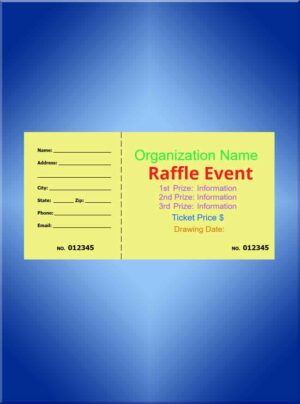 Raffle Tickets Large Color Ink - 5 1/2 x 2 7/8 - Design Your Own